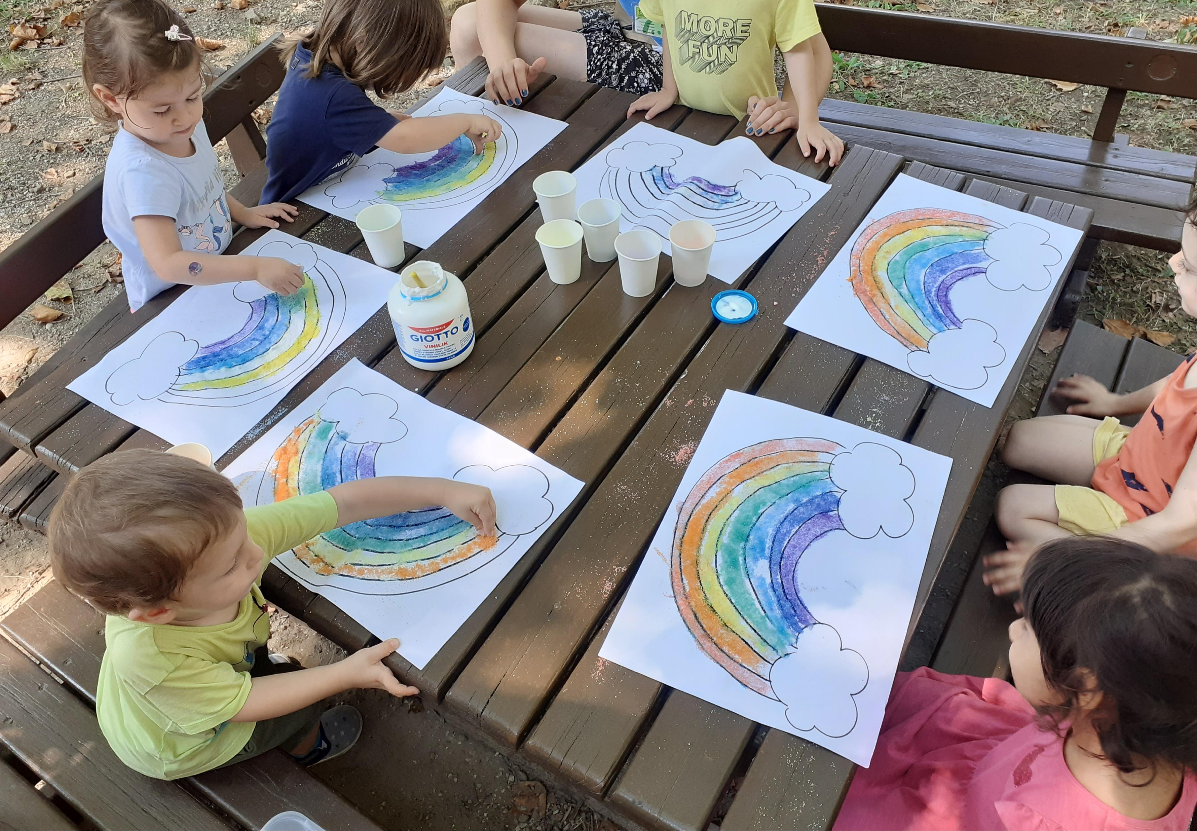 Pittura con il sale colorato