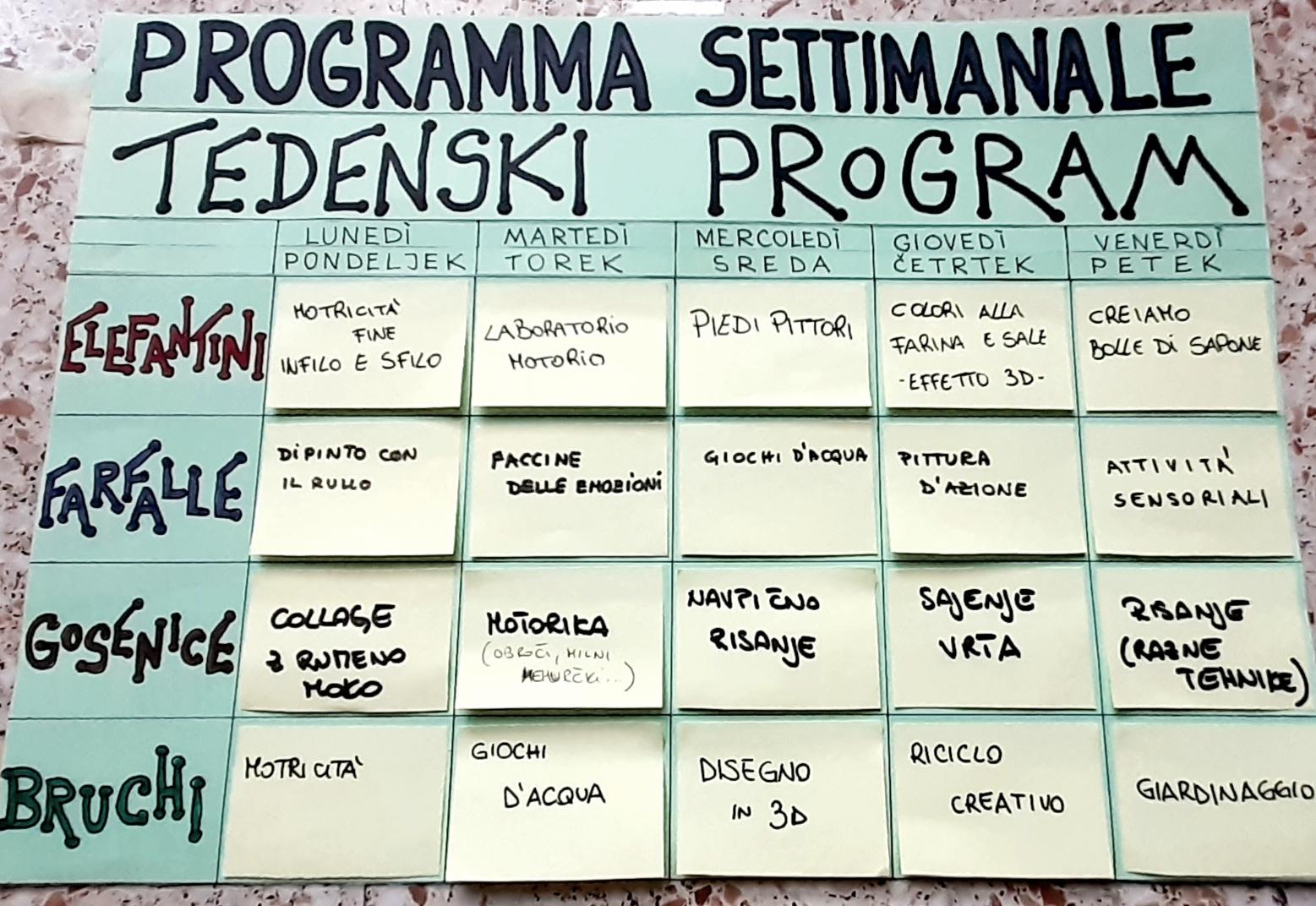 Programma settimanale Verdenido